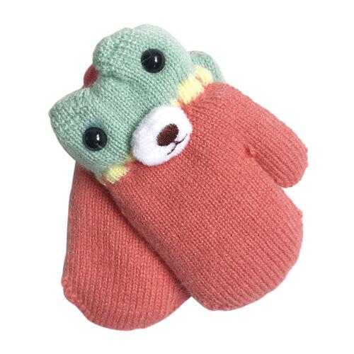 Toddler Baby Kids Girls Boys Thicken Cute Bear Warm Gloves Mittens 1-2 Years Old