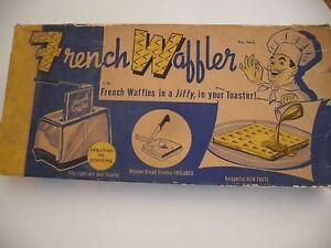 Vintage FRENCH WAFFLER Toaster Cooker Baker Aluminum Black Bakelite Handles