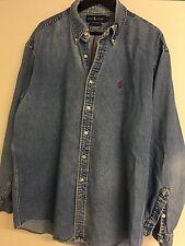 Men's Polo Ralph Lauren Classic Fit Long Sleeved Denim Jean Button Up Shirt XL