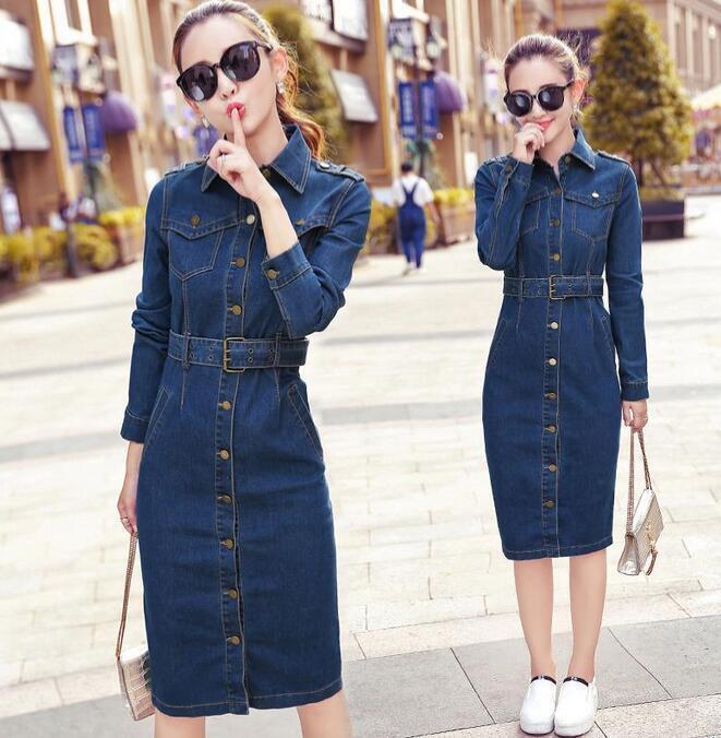 Womens bluee Denim Dress Long Sleeve Girls Jeans Retro Slim Fit Trench Coats Tide