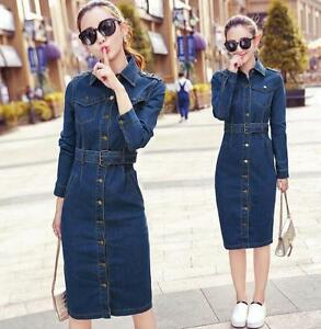 Womens-Blue-Denim-Dress-Long-Sleeve-Girls-Jeans-Retro-Slim-Fit-Trench-Coats-Tide