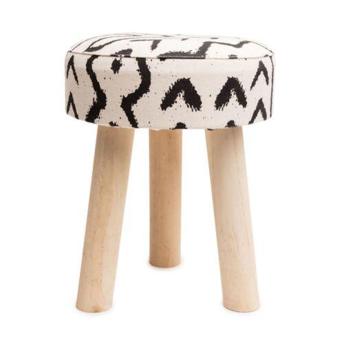 Footstool Side Table White Aztec Geometric Black Round Stool Tripod Wood Legs