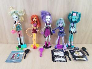 Monster-High-Dolls-5-doll-bundle-Lagoona-Blue-Coffin-Bean-Honey-Bean-Twyla