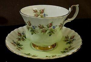 Royal Albert Moss Rose on Green band 4364 bone china cup & saucer