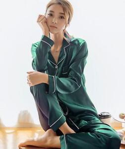 Womens-Silk-Satin-Pajamas-Sets-Sleepwear-2pcs-Nightwear-Solid-Homewear-CHIC