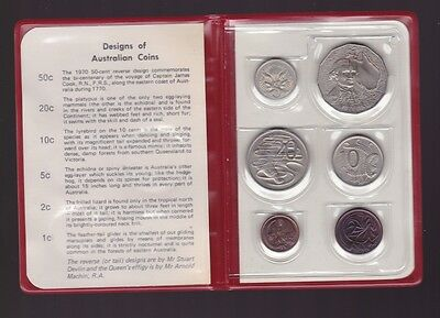 1970 UNC Uncirculated Coin Set Red Wallet Australia Captain Cook 50 Cent K-216
