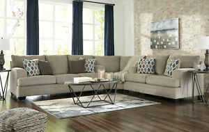 Details Zu New Modern Living Room Large Sectional Beige Chenille Fabric Sofa Couch Set Ig21