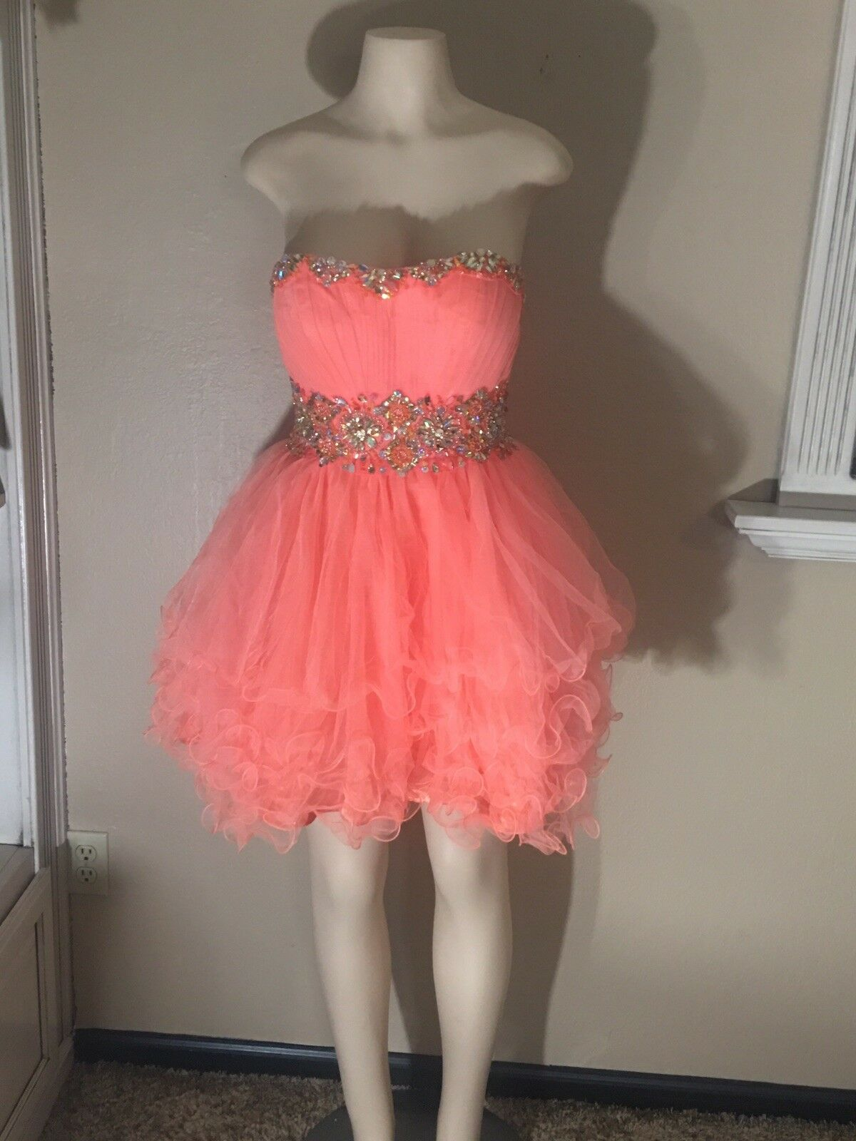 Fabuluxe Couture Coral Pink  Jeweled Waistline Prom Formal Homecoming Dress Sz M