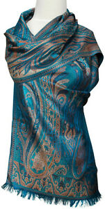 PASHMINA-SCIARPA-SCARF-100-seta-silk-soie-foulard-echarpe-BLU-BLUE-MARRONE-BROWN