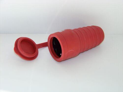 Schutzkontakt Kupplung Schuko mit Deckel Gummi IP44 rot Unitec 44092L
