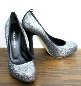 c3ff5945e5064 Image is loading DSQUARED2-SILVER-GLITTER-GENUINE-LEATHER-HIGH-HEEL-HIDDEN-