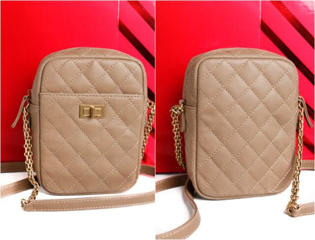 3a1d49ca3534 Authentic $2800 Chanel Khaki Quilted Leather 2.55 Reissue Camera Case Bag  A91114
