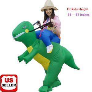 Image Is Loading Inflatable Riding Dinosaur Costume Fan Operated Halloween  Costume