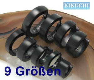 Edelstahl-Klapp-Creolen-Paar-schwarz-matt-9-Groessen-nach-Wahl-Top-Ohrringe-Hoops