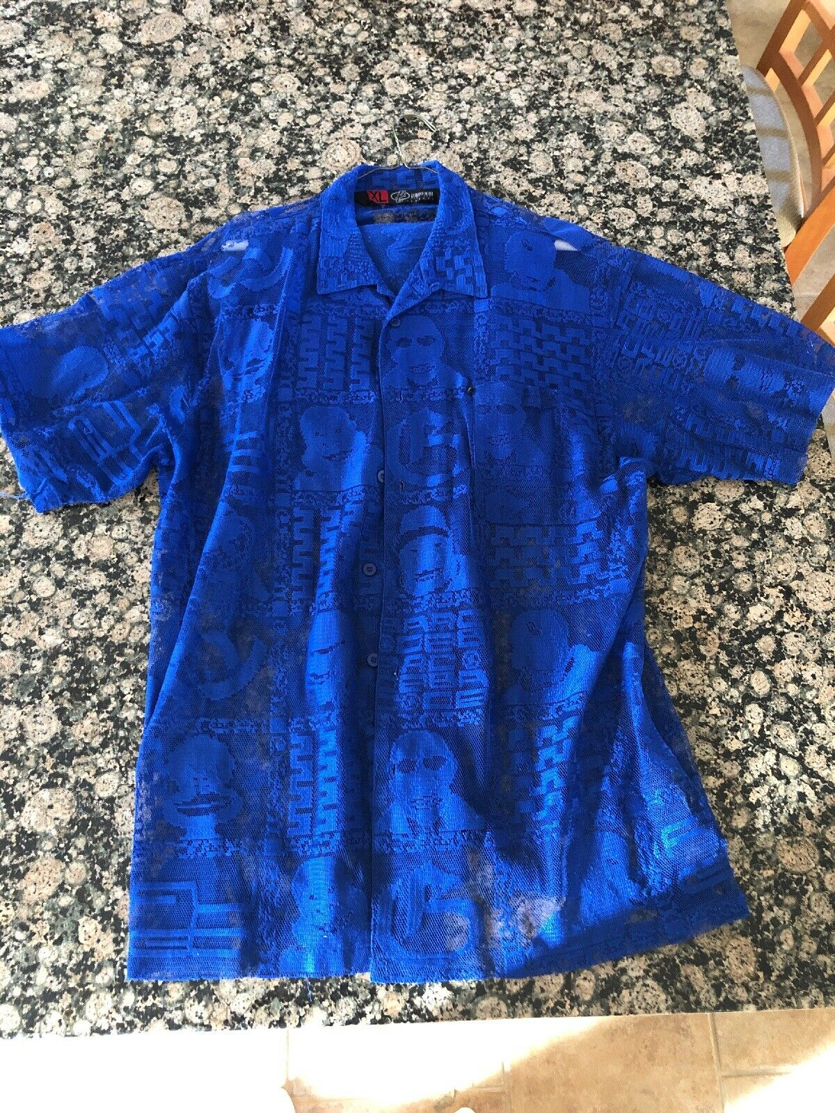 90s Unisex BC Barcode Clothing Blue S/S Shirt And Matching Shorts XL Awesome Set