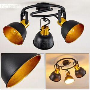 Vintage Wohn Schlaf Raum Leuchte Decken Lampe Flur Dielen Strahler schwarz-gold