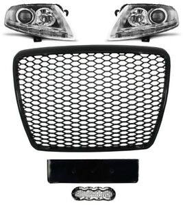 Fuer-Audi-A6-4F-04-12-RS6-Look-Wabengrill-Led-Xenon-Scheinwerfer-Stossstangen-4