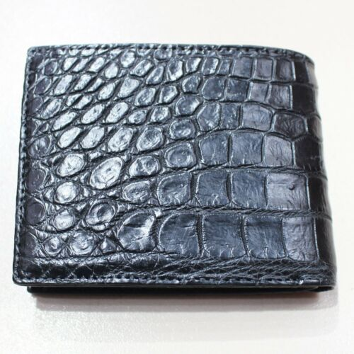Genuine Crocodile Alligator Skin Leather Bifold Wallet Black