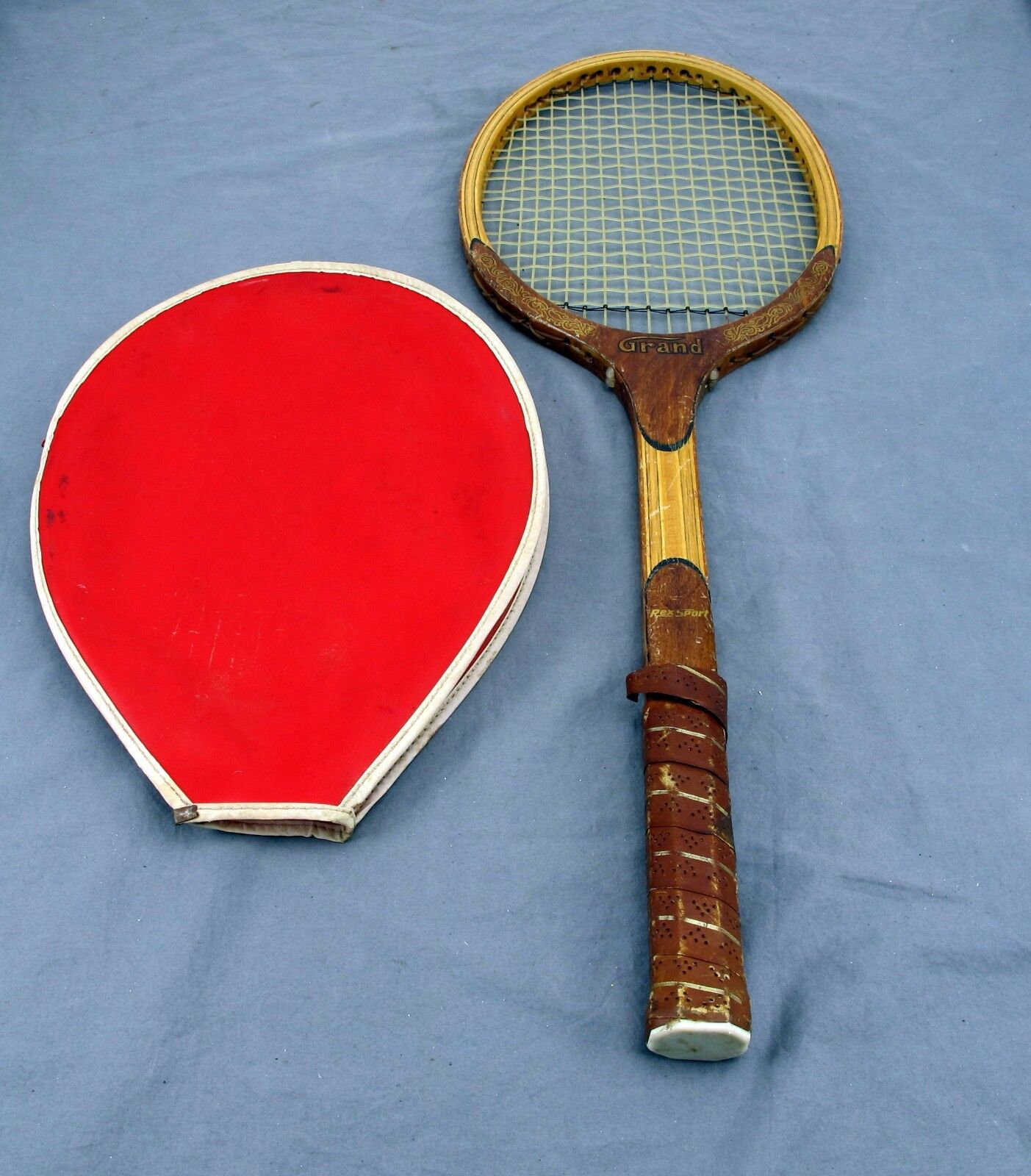 Vintage Rex Sport ''Grand'' Antique Wooden Tennis Racquet w  Sleeve RARE