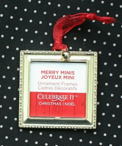 Celebrate it Merry Minis Christmas Ornament Frame Gold Square H4