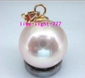 Stunning-AAA-16mm-natural-south-sea-pink-round-shell-pearl-pendant-14k-gold