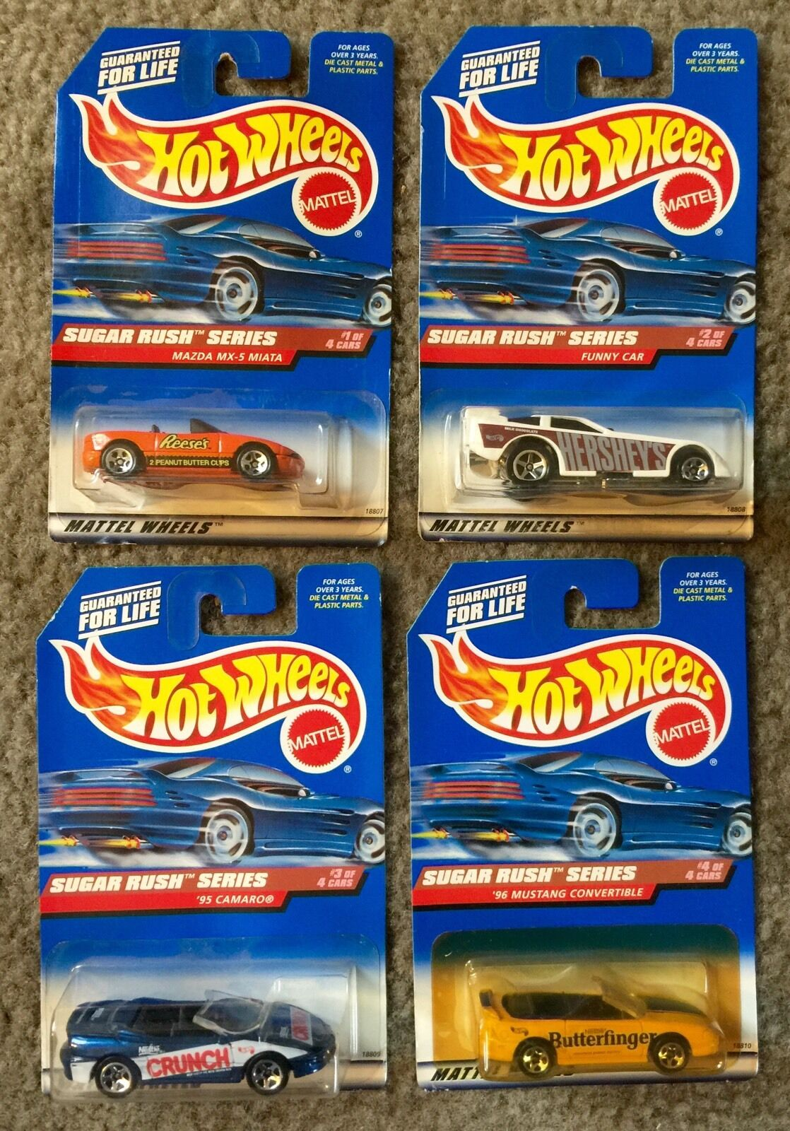 SUGAR RUSH SERIES 1997 Hot Wheels- 4 Car Set