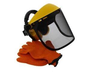 Garden Strimmer Trimmer Hand & Face Protection Kit Gloves Shield Ear Muff