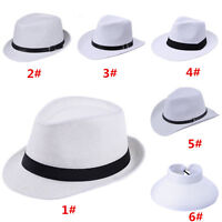 Men Women White Jazz Straw Trilby Fedora Panama Western Cowboy Hat Gangster Cap