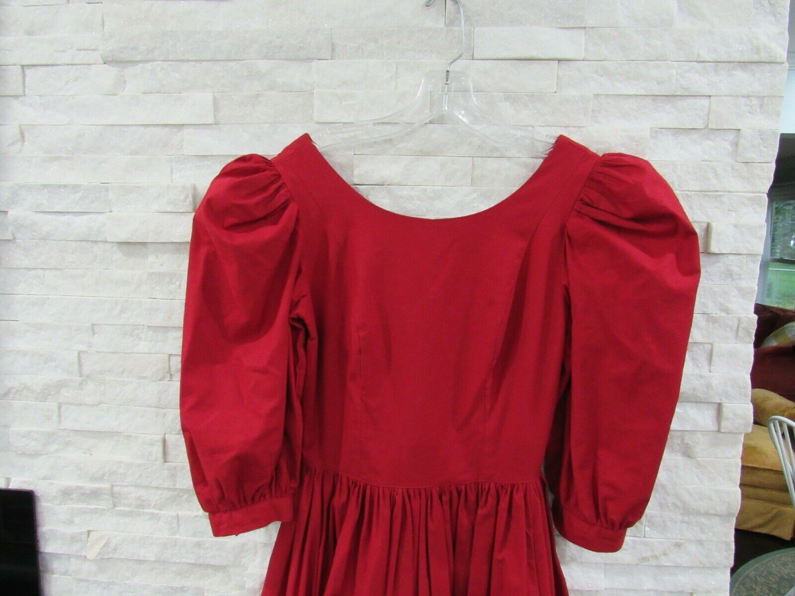 Vintage Laura Ashley 90s Red Heavy Cotton Puff Sl… - image 2