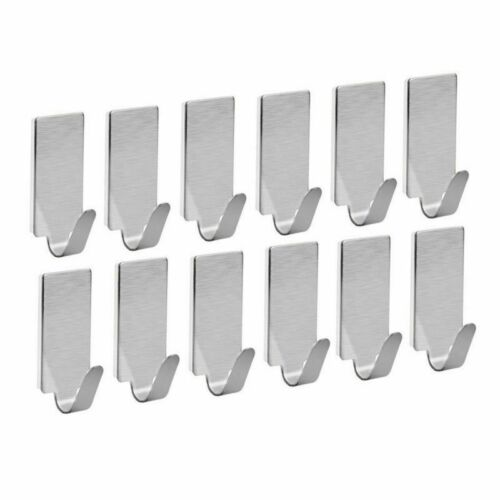 12Pcs Self Adhesive Bathroom Wall Door Stainless Steel Holder Hook Hanger Hooks