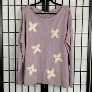 Liquid-by-Sioni-Women-039-s-Sweater-Embellished-Style-Flower-Pearl-Size-XLarge