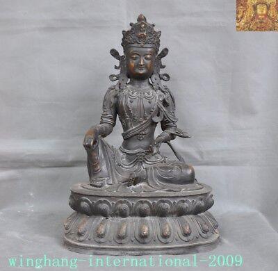 "20"" Antiques Old Tibet Buddhism Bronze Lotus Tara Kwan-yin Goddess Buddha Statue"