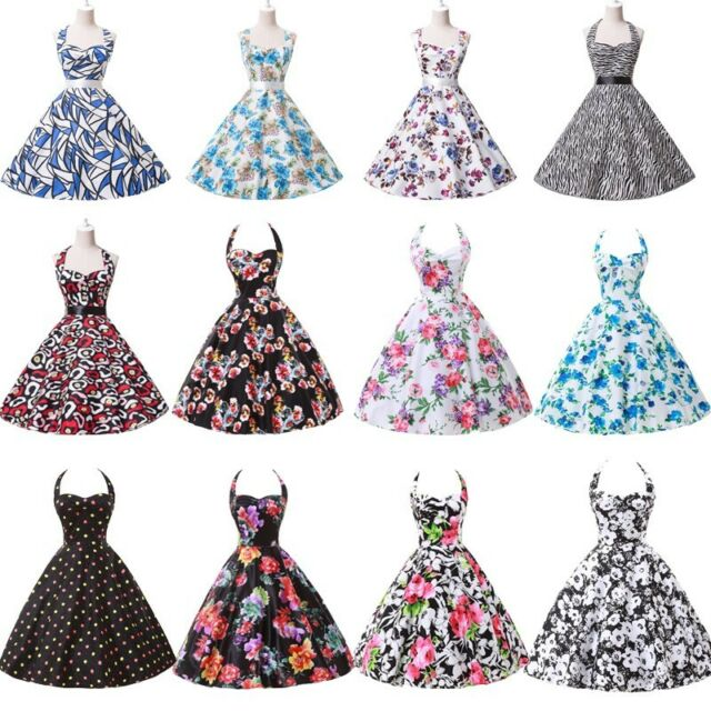 Multi-Style 50s 60s Swing ROCKABILLY Halter Cotton Party Evening Retro VTG Dress