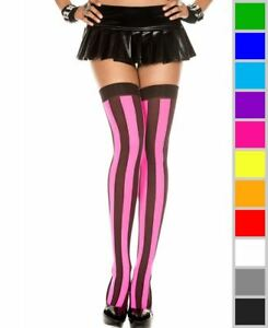 2b5e111c3 Image is loading New-Music-Legs-4219-Opaque-Vertical-Striped-Thigh-