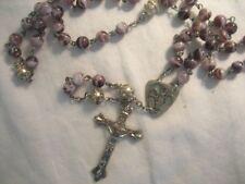 CATHOLIC ROSARY Purple glass pearl Murano Rome Italy Alpha Omega Gorgeous