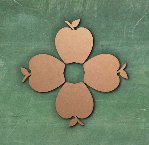 MDF Apple 40mmx40mm LASER CUT MDF WOODEN SHAPE Wood Craft Arts Decoration