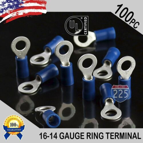100 PACK 16-14 Gauge #10 Stud Insulated Vinyl Ring Terminals Tin Copper Core US
