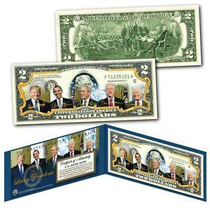 LIVING-PRESIDENTS-including-DONALD-TRUMP-Genuine-Legal-Tender-2-U-S-Bill-w-COA