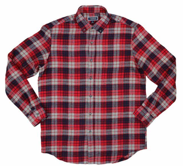 Club Room Mens Shirt Red Size Medium M Button Down Flannel Longsleeve $39 #219