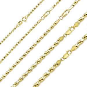 14K-Yellow-Gold-Hollow-Diamond-Cut-Rope-Necklace-Chain-2-5mm-16-30-034-Link