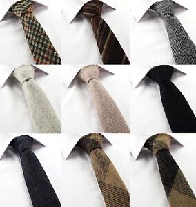 Homme-laine-tweed-cravate-marron-gris-argente-carreaux