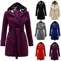 Women Winter Warm Double-breasted Hooded Long Coat with Belt Outwear Fashion Top