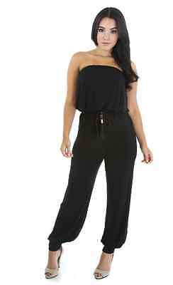 22aafec185 Women s Loose Fitted Tube Top Jumpsuit With Belt