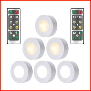 Details About 6pcs Wireless Led Puck Lights Closet Under Cabinet Lighting With Remote Control