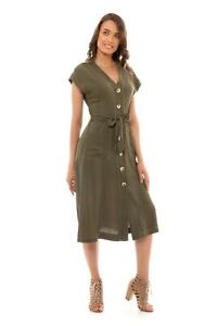 Primark-Khaki-Green-Dress-with-Pockets-UK-Sizes-4-6-8-10-12-14-16-18-20-NEW