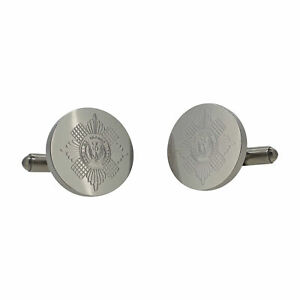 Grenadier Guards Round Engraved Cufflinks in Leatherette Box