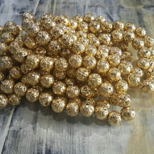 47pce  Gold Free postage Oz Seller Natural Lava Electroplated Bumpy  8mm