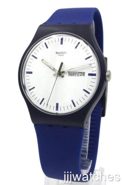 Nouveau Swatch Suisse Originals BELLABLU Silicone Day Date Watch 41 mm Suon 709 $75