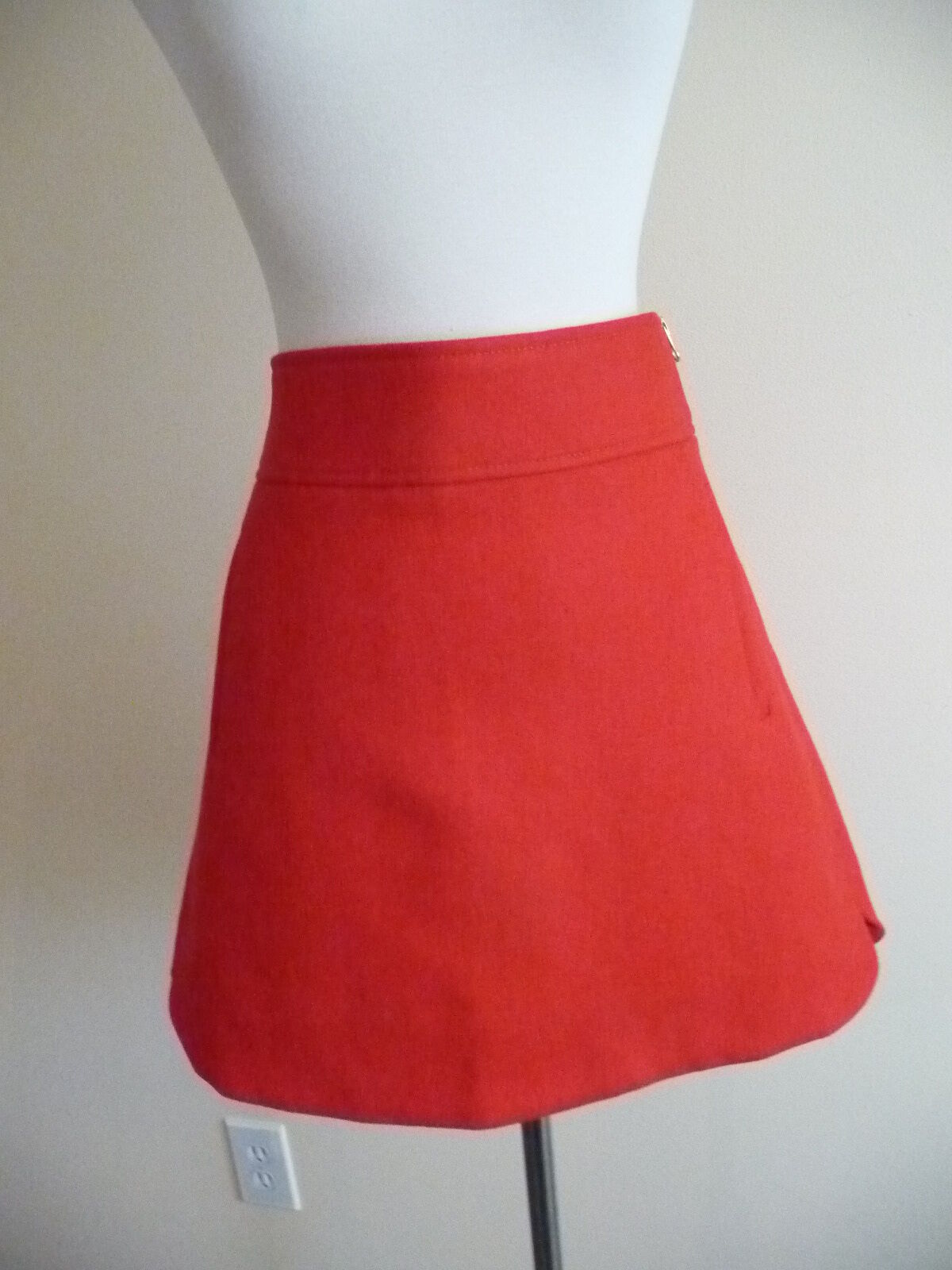 NEW J.CREW MINI SKIRT IN DOUBLE-SERGE WOOL, F8325, SZ 6, RED,  98