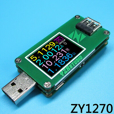 Colour TFT Dual USB Power Monitor YZXstudio ZY1270 QC 3.0 Auto Fast Charge